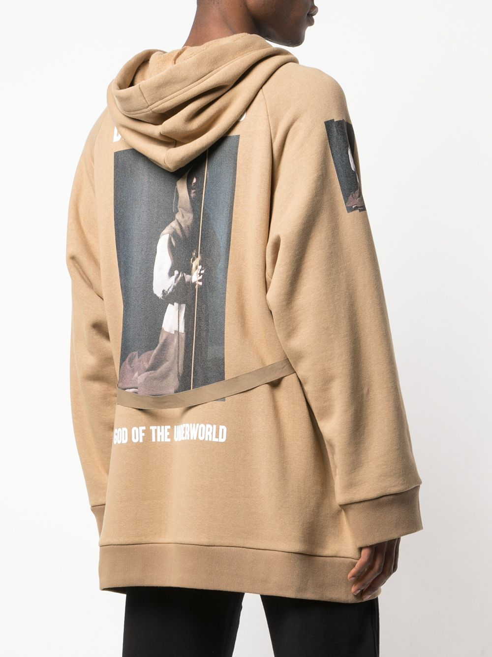 UNDERCOVER MEN THE DEAD HERMITS PRINTED TIE FRONT HOODED COAT