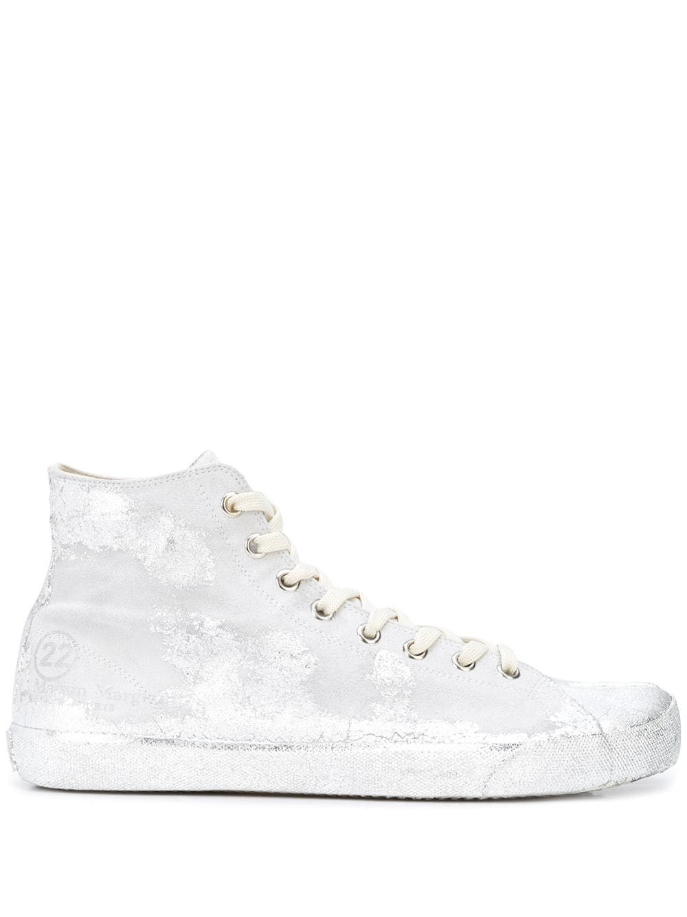 MAISON MARGIELA MEN SILVER PAINTED HIGH TOP TABI SNEAKERS
