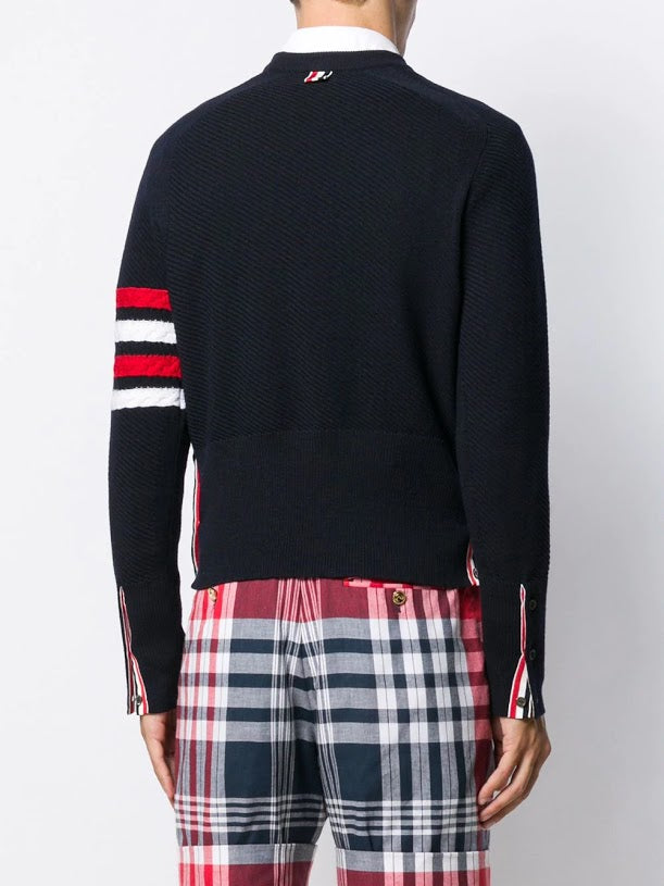 THOM BROWNE MEN DIAGONAL STITCH SADDLE SLEEVE CLASSIC CREW NECK PULLOVER WITH 4 BAR STRIPE IN FINE