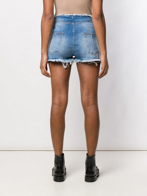 UNRAVEL WOMEN STONEWASH DENIM R/W LACE UP SHORTS