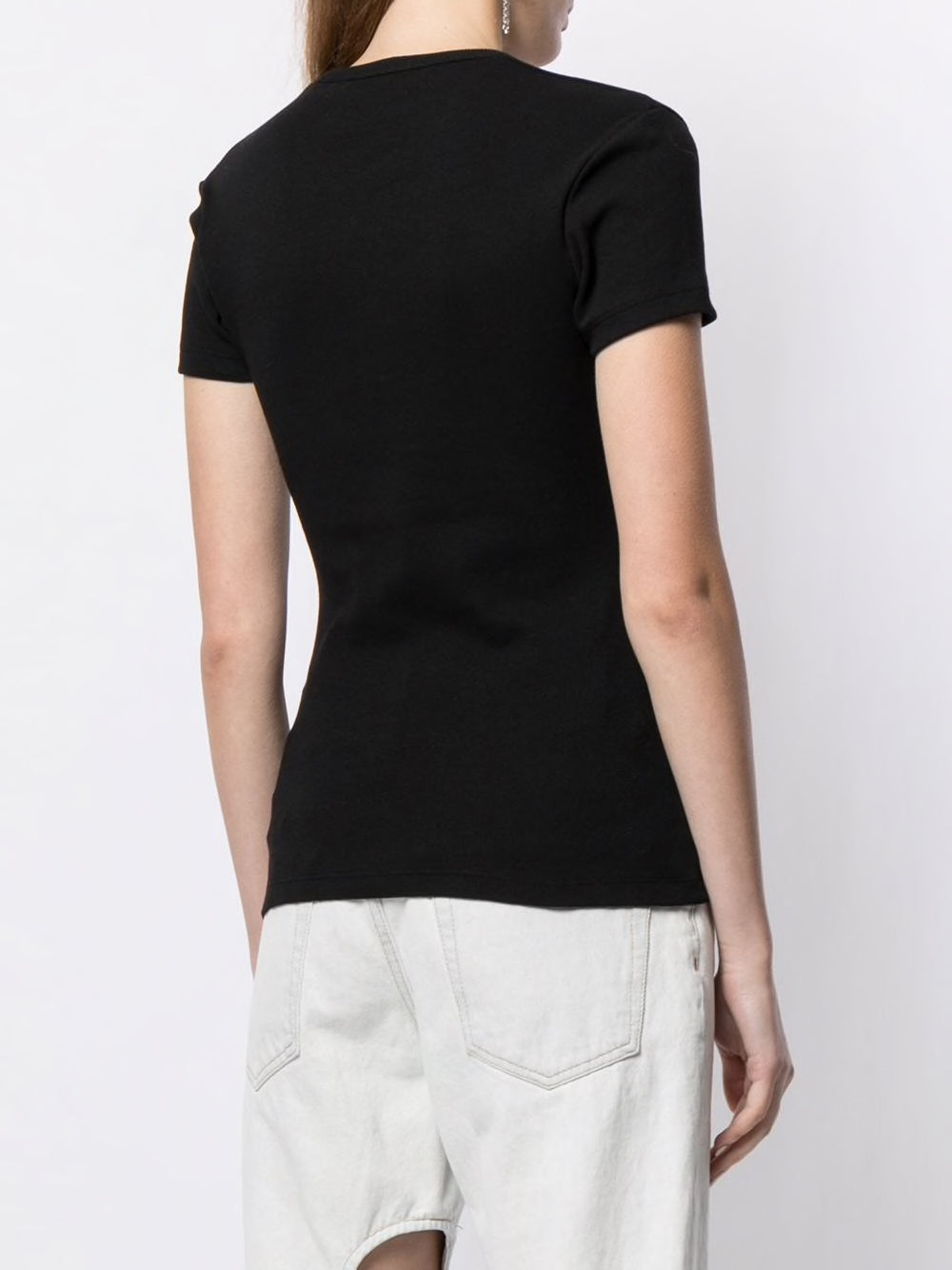 OFF-WHITE WOMEN BASIC RIBBED TEE BLACK WHITE