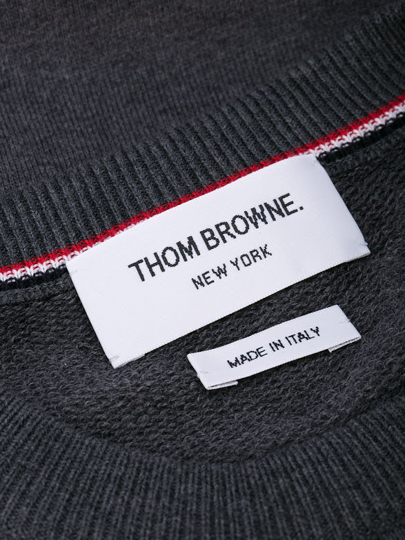 THOM BROWNE MEN HYBRID CREW NECK PULLOVER IN CLASSIC LOOP BACK WITH ENGINEERED 4 BAR WITH DONEGAL SLEEVE