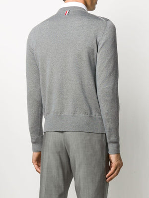 THOM BROWNE MEN JERSEY STITCH RELAXED FIT CREW NECK PULLOVER W/ 4BAR IN FINE MERINO WOOL