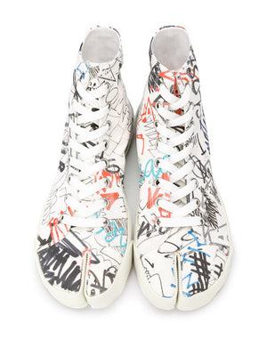 MAISON MARGIELA WOMEN GRAFFITI PRINT HIGH TOP TABI SNEAKERS