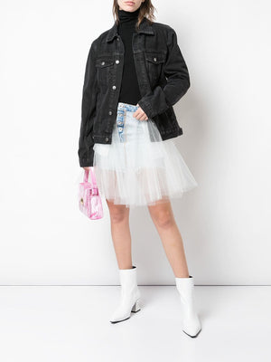 UNRAVEL PROJECT WOMEN STONE 10 MINI DENIM TULLE SKIRT