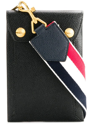 THOM BROWNE MAIL ENVELOPE PHONE HOLDER WITH DETACHABLE RWB CROSSBODY STRAP IN PEBBLE GRAIN