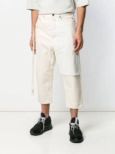 DRKSHDW MEN COMBO COLLAPSE CROPPED DENIM PANTS