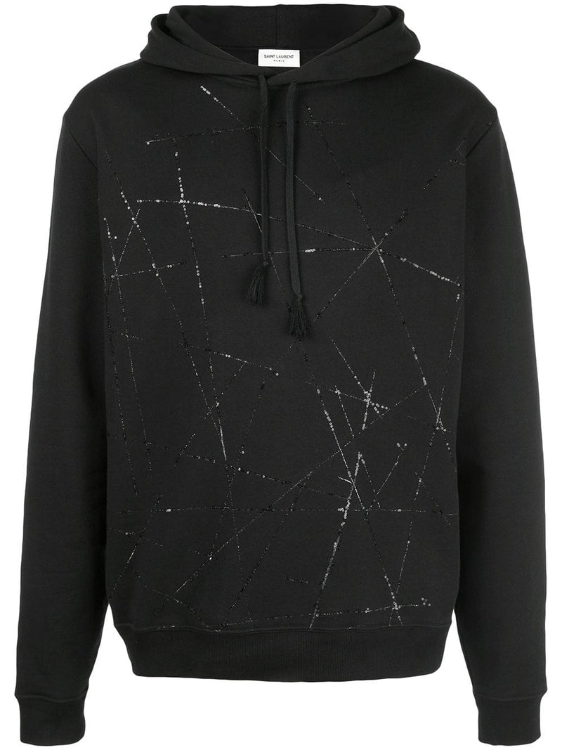 SAINT LAURENT MEN ABSTRACT EMBROIDERY HOODIE