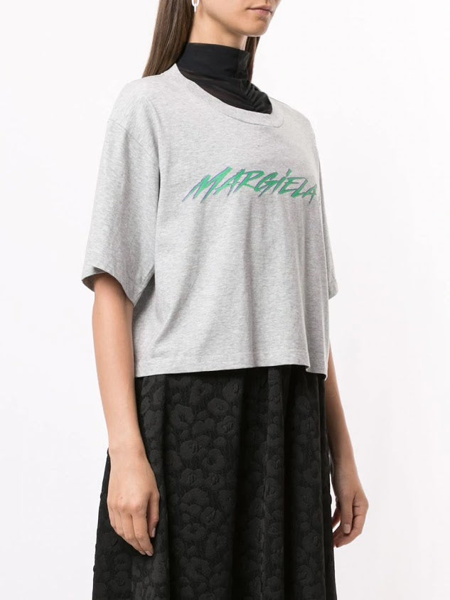 MM6 WOMEN LOGO PRINTED CROPPED T-SHIRT