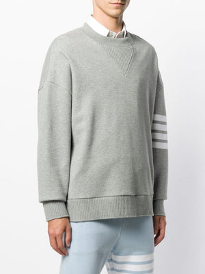 THOM BROWNE MEN OVERSIZED CLASSIC CREW NECK SWEATSHIRT IN CLASSIC LOOP BACK