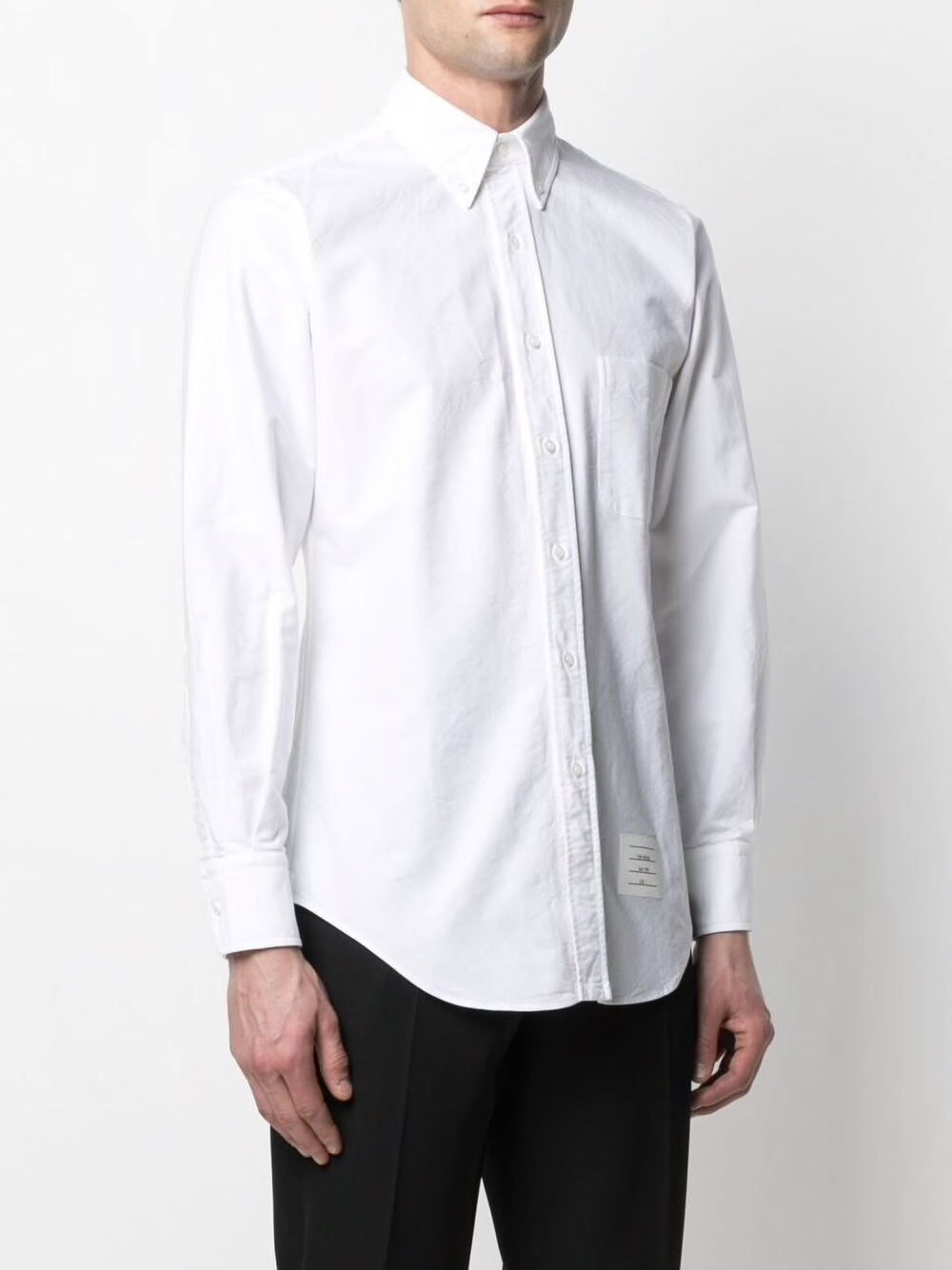 THOM BROWNE MEN CLASSIC LONG-SLEEVE BUTTON DOWN SHIRT W/ RWB PLACKET IN OXFORD