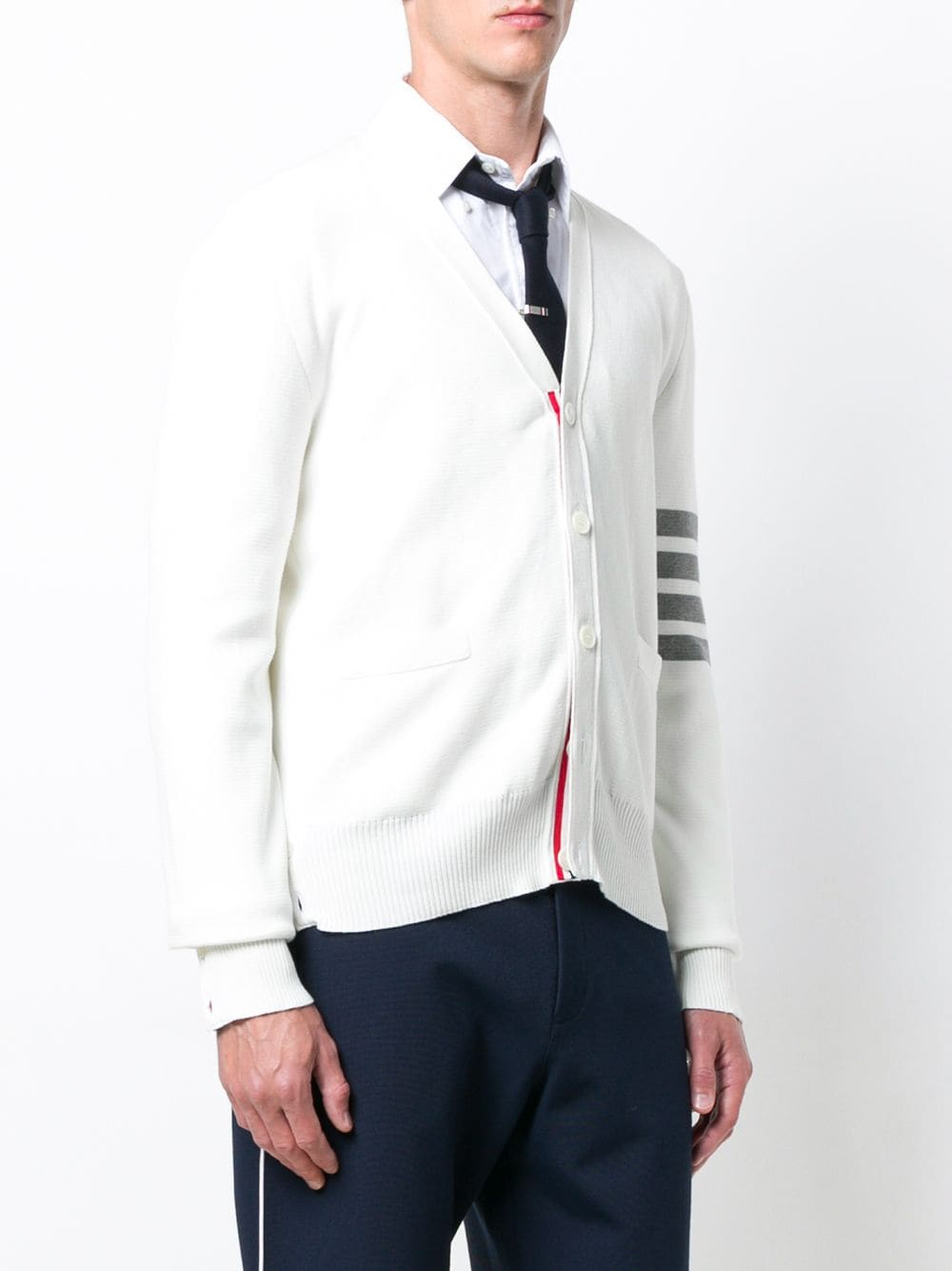 THOM BROWNE MEN MILANO STITCH V NECK CARDIGAN IN COTTON W/ 4 BAR SLEEVE