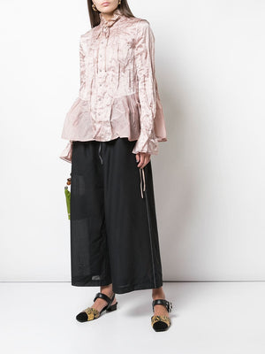 RENLI SU WOMEN STRIPED WIDE LONG TROUSERS WITH ELASTIC WAISTBAND