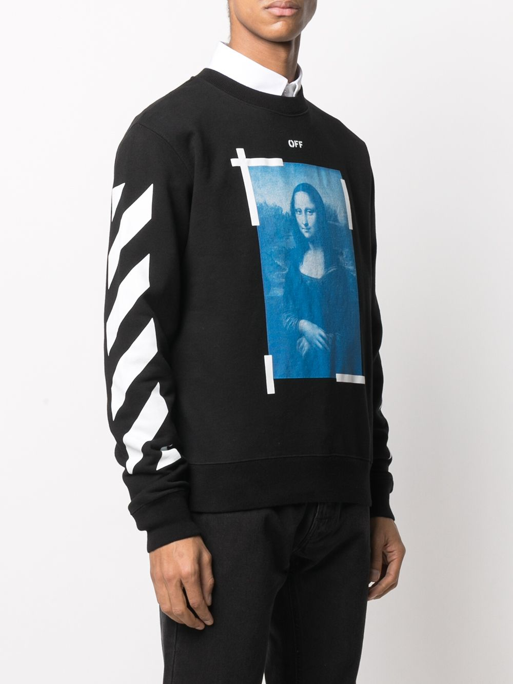 OFF WHITE MEN BLUE MONALISA SLIM CREWNECK