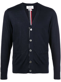 THOM BROWNE MEN CLASSIC V NECK CARDIGAN IN FINE MERINO WOOL W/ CB RWBINTARSIA STRIPE
