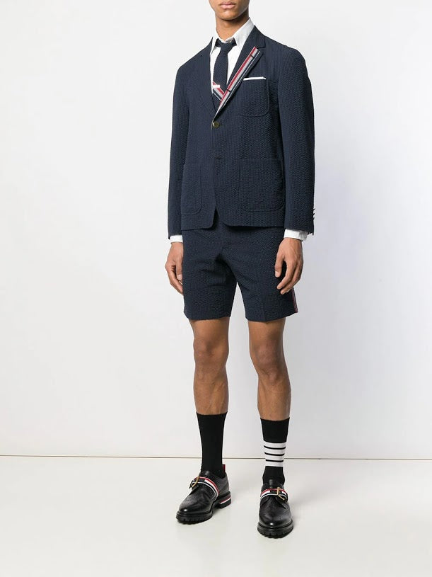 THOM BROWNE MEN UNCONSTRUCTED PATCH POCKET SACK SB S/C IN ENGIGEERED RWB WOOL SEERSUCKER