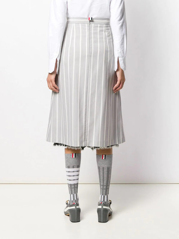 THOM BROWNE WOMEN FLARE SKIRT WITH BLOOMER IN BANKER STRIPE WOOL SUITING