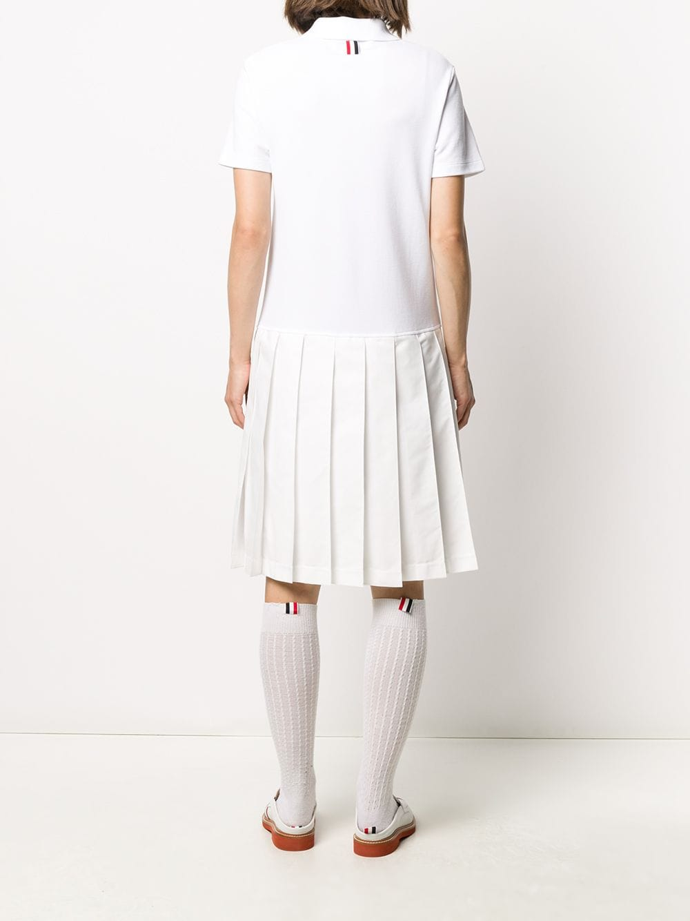 THOM BROWNE WOMEN SHORT SLEEVE PLEATED BOTTOM POLO DRESS W/ PRINTED RWB DIAGONAL STRIPE IN CLASSIC PIQUE