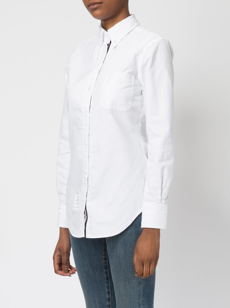 THOM BROWNE WOMEN CLASSIC LONG SLEEVE BUTTON DOWN POINT COLLAR SHIRT W/ RWB GG PLACKET IN OXFORD