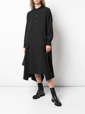 YOHJI YAMAMOTO WOMEN SIDE ZIP HOODED DRESS
