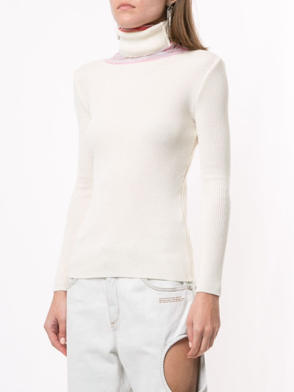 Y/PROJECT WOMEN TURTLE NECK TULLE PULL SWEATER