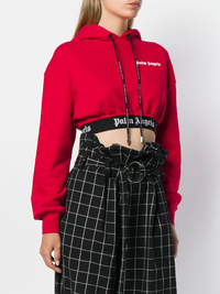 PALM ANGELS WOMEN NEW BASIC CROPPED HOODIE