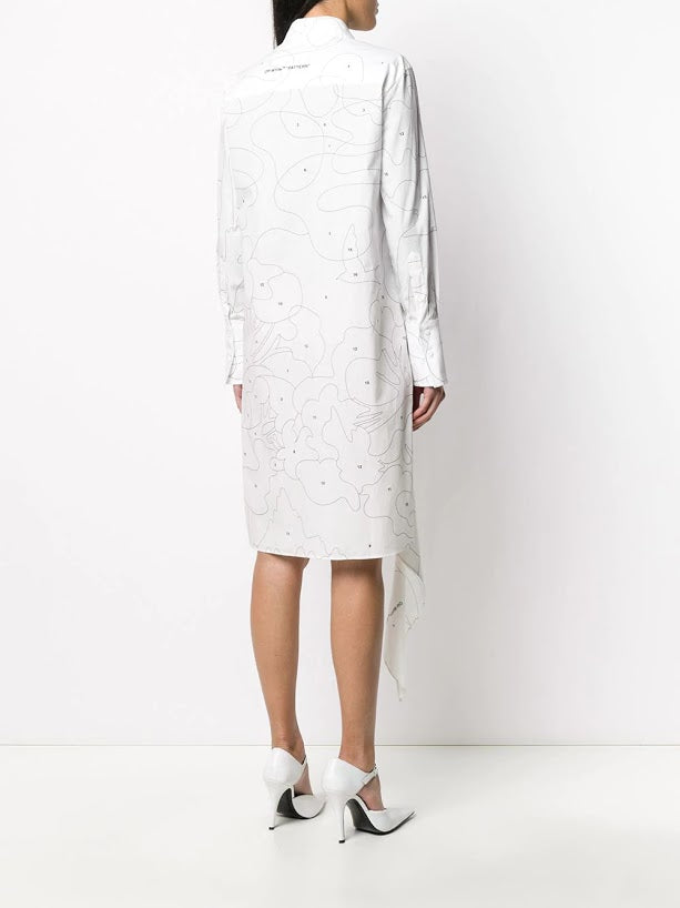 OFF WHITE WOMEN PUZZLE SPIRAL SHIRT DRESS