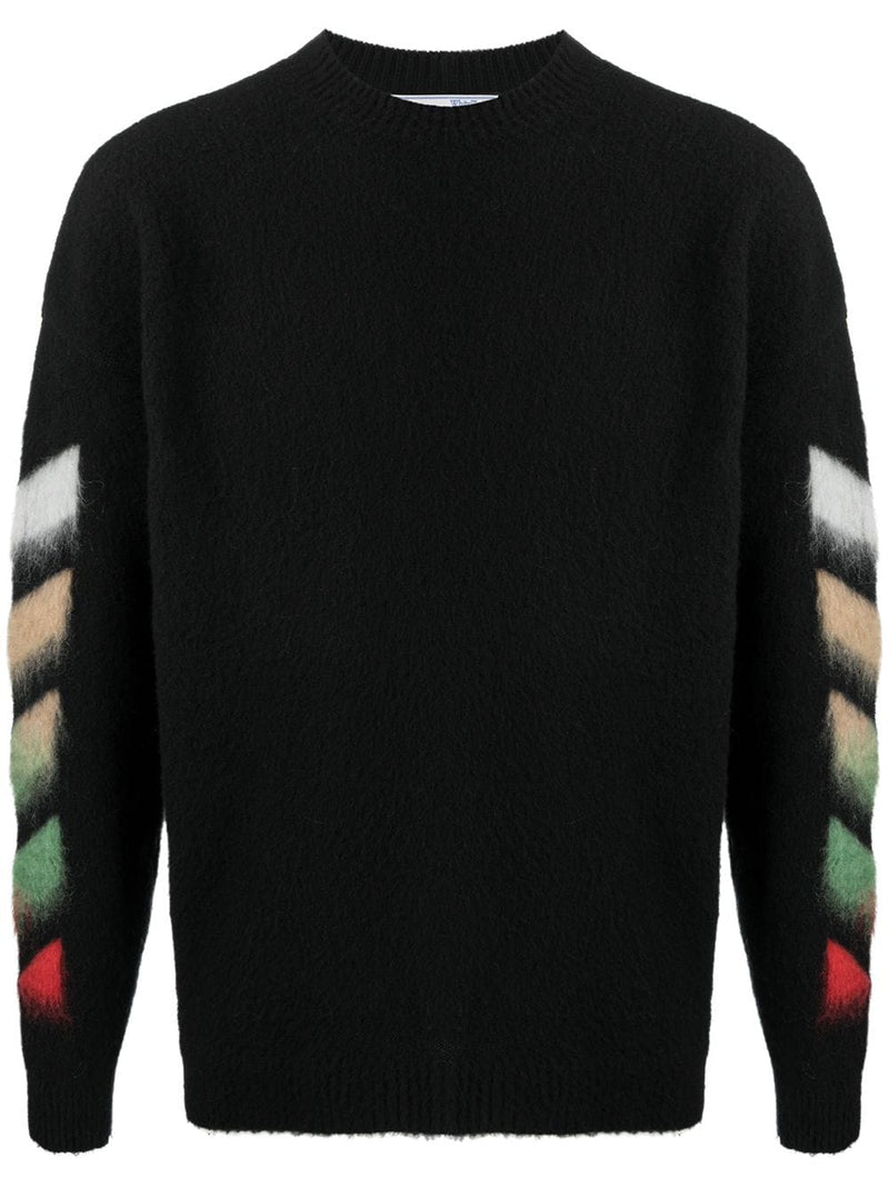 OFF-WHITE MEN DIAG BRUSHED CREW NECK BLACK MULTICOLOR