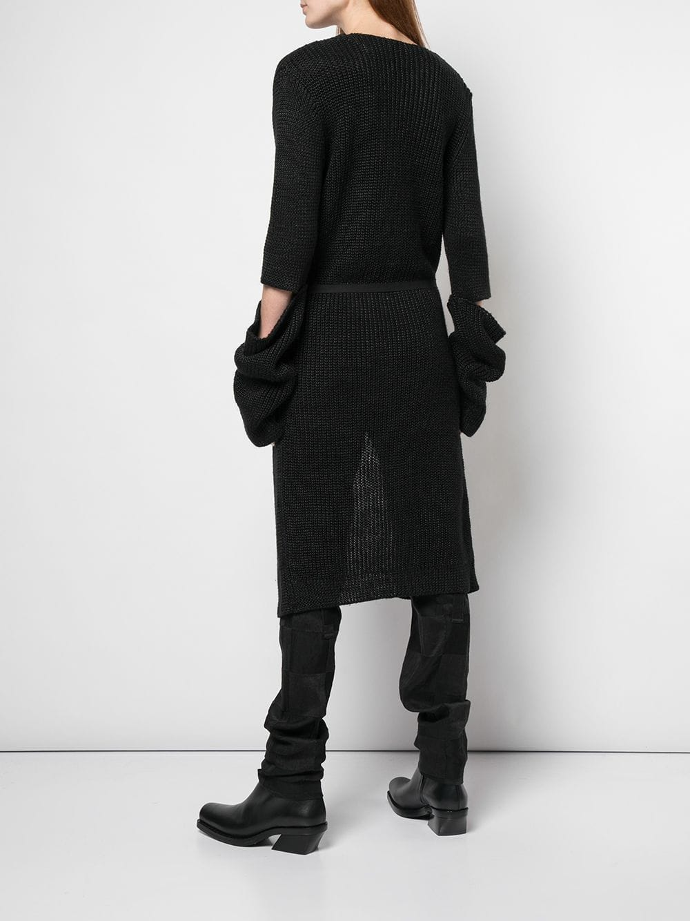 ANN DEMEULEMEESTER WOMEN KNITTED CUT SLEEVES CARDIGAN