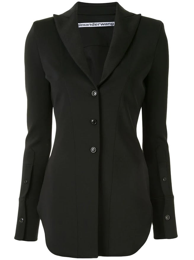 ALEXANDER WANG WOMEN FITTED SHIRT JACKET W/ POINTED COLLAR