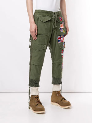 GREG LAUREN MEN ARMY PATCHWORK ZIP LOUNGE