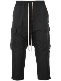 RICK OWENS MEN DRAWSTRING CARGO CROPPED PANTS