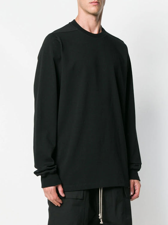 RICK OWENS MEN SHORT CREWNECK LONG SLEEVE TEE