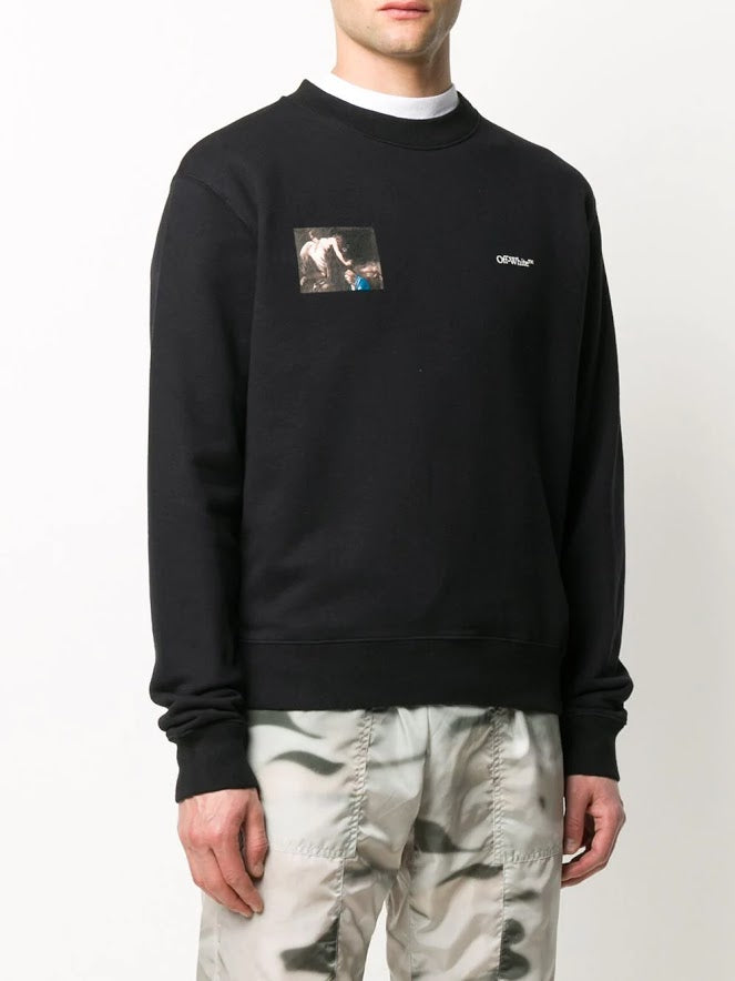 OFF-WHITE MEN CARAVAG ANGEL SLIM CREWNECK