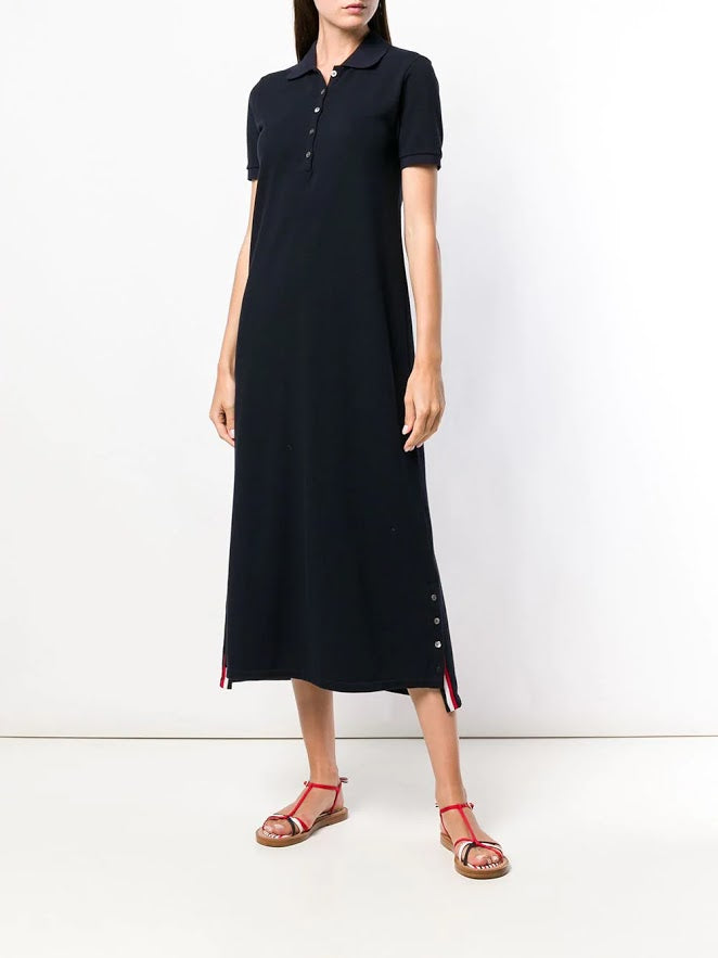 THOM BROWNE WOMEN SHORT SLEEVE LONG A-LINE POLO DRESS WITH CB RWB STRIPE IN CLASIC PIQUE