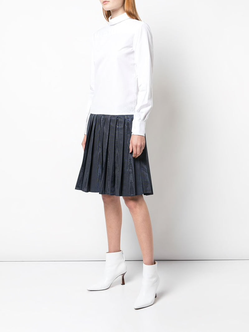 THOM BROWNE WOMEN BACKWARDS PLEATED BOTTOM SHIRTDRESS IN MOIRE TRACEE