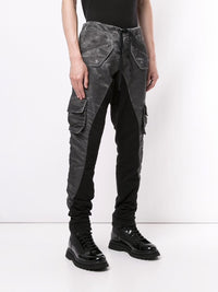 GREG LAUREN MEN WASHED SATIN 50/50 LONG SLIM LOUNGE PANTS