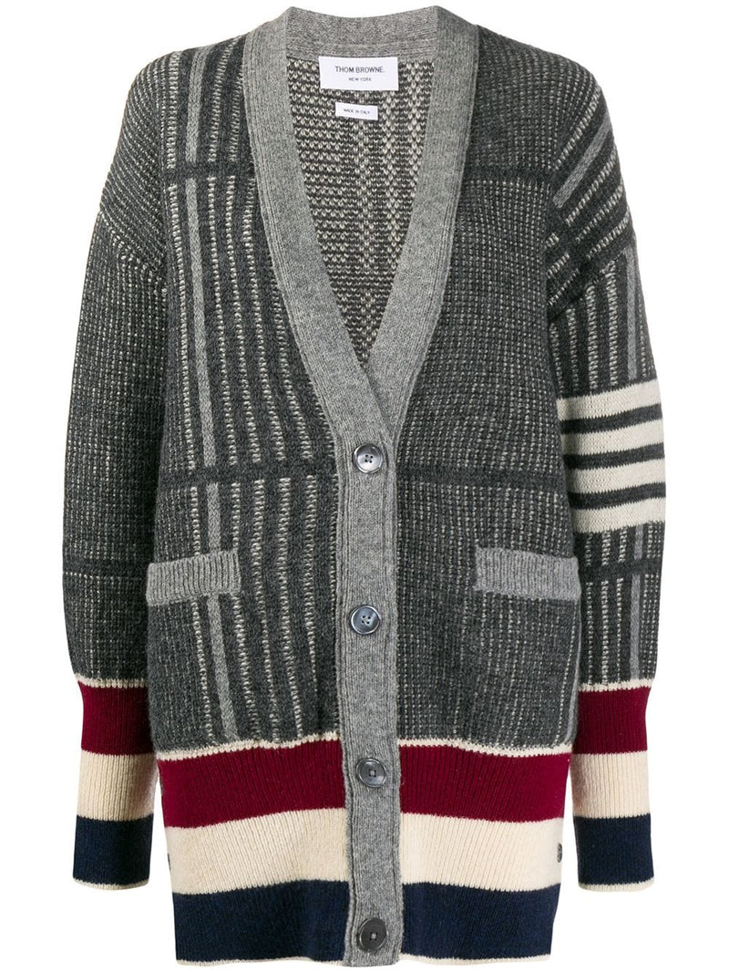 THOM BROWNE WOMEN OVERSIZED CHECK JACQUARD EXAGGERATED FIT V- NECK CARDIGAN W/ 4 BAR & RWB IN SHETLAND WOOL