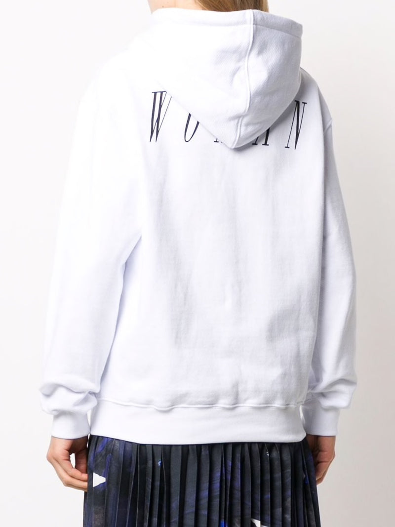 OFF-WHITE WOMEN BRUSH ARROW OVERSIZE HOODIE WHITE BLUE