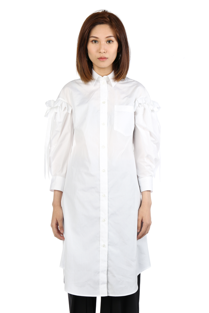 SIMONE ROCHA WOMEN RUFFLE BOW SLEEVE SHIRT DRESS