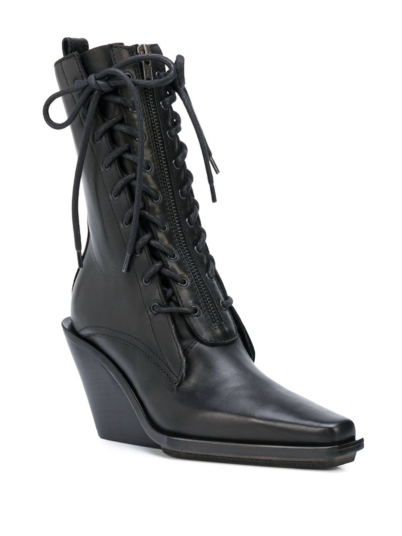 ANN DEMEULEMEESTER WOMEN VITELLO SETA CRUST NERO LACE UP WEDGE BOOTS