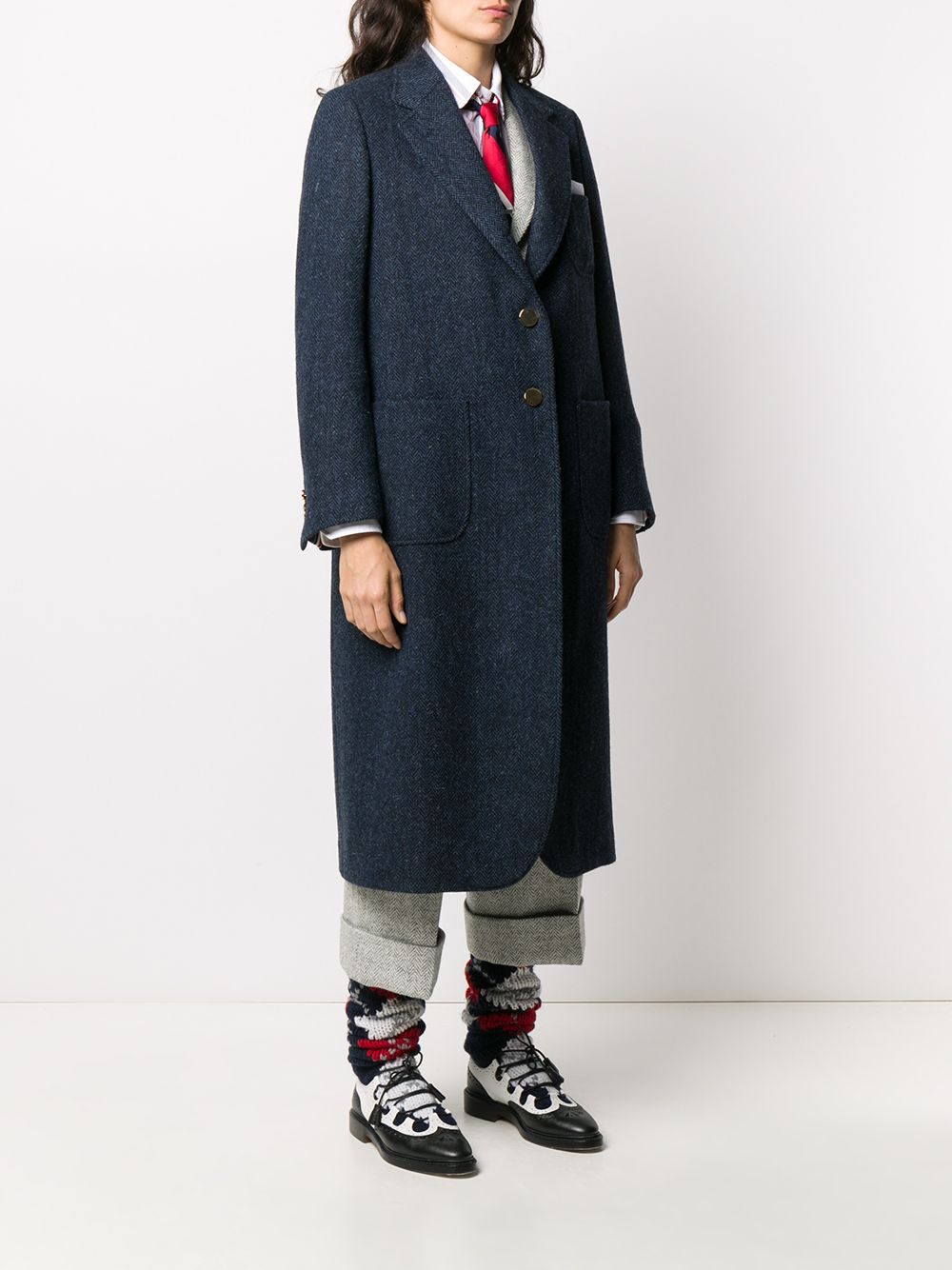 THOM BROWNE WOMEN ELONGATED SACK OVERCOAT - FIT 2 - IN HERRINGBONE HARRIS TWEED