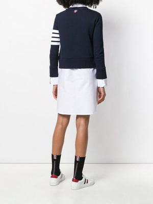 THOM BRWONE WOMEN V NECK CARDIGAN IN CLASSIC LOOP BACK WITH ENGINEERED 4 BAR AND OXFORD SHIRT DRESS