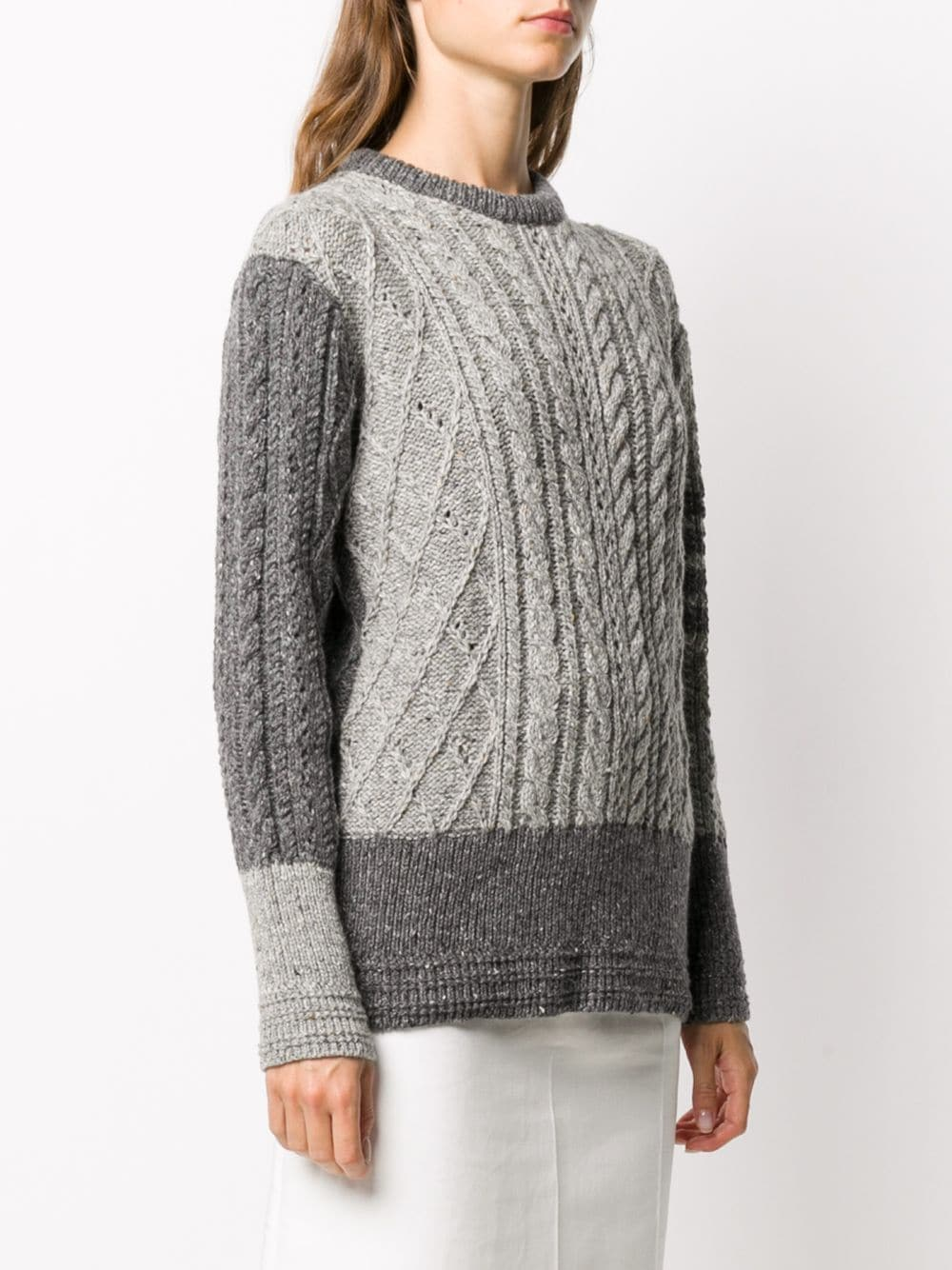 THOM BROWNE WOMEN FUN MIX CABLE RELAXED FIT CREWNECK PULLOVER W/ 4 BAR IN MOHAIR TWEED