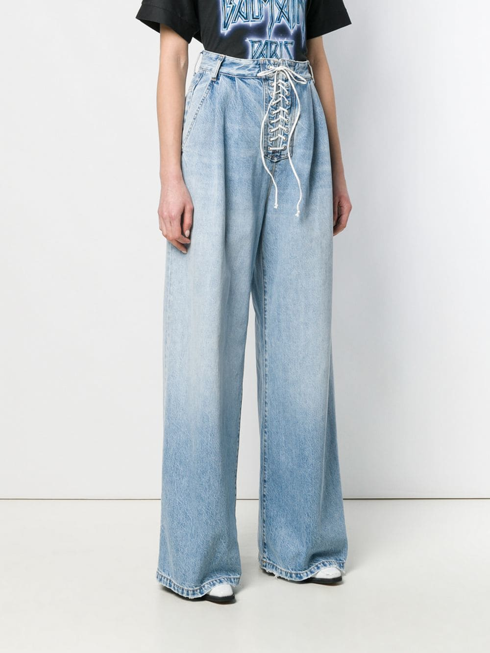 UNRAVEL PROJECT WOMEN STONE 10 LACE UP WIDE LEG DENIM