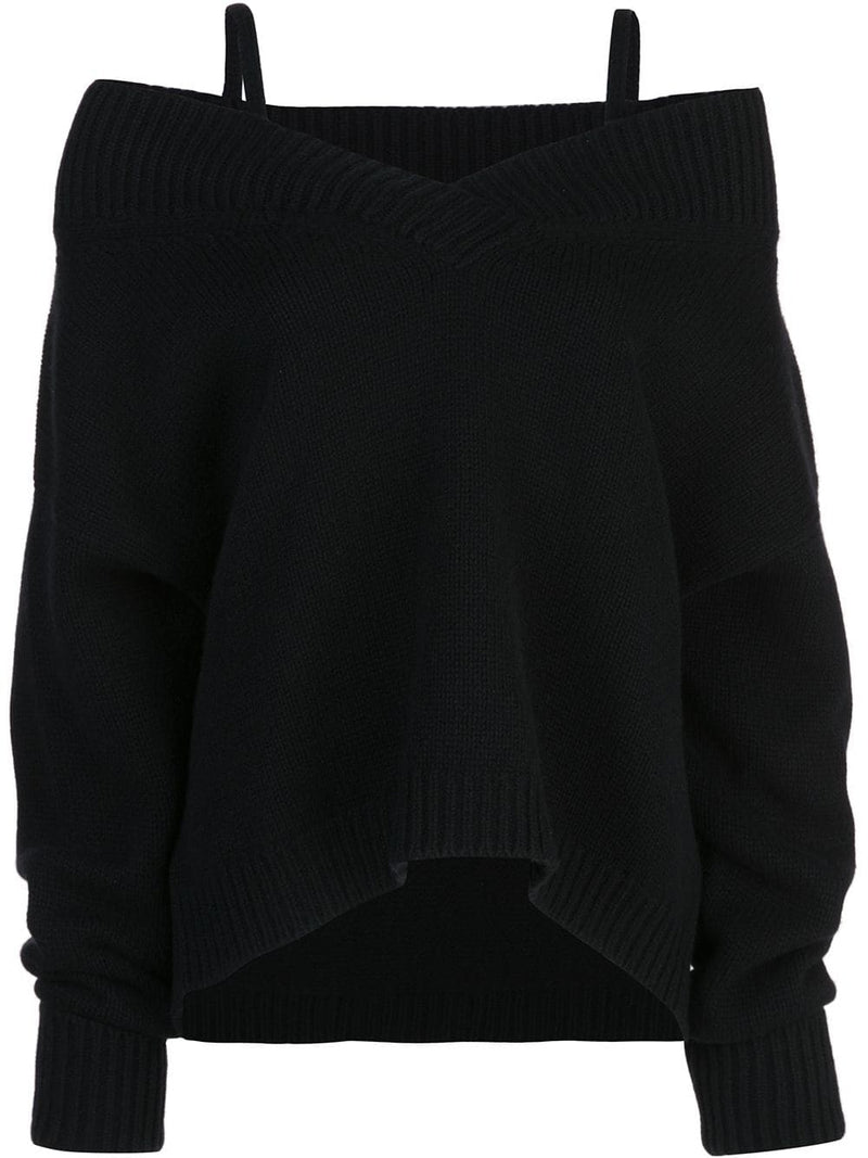 MAISON MARGIELA WOMEN OFF SHOULDER V-NECK SWEATER