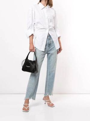 ALEXANDER WANG WOMEN CINCHED WAIST BUTTON DOWN SHIRT WITH RUSHED SLEEVE