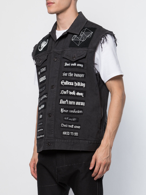 UNDERCOVER MEN BAND PATCHES DENIM VEST