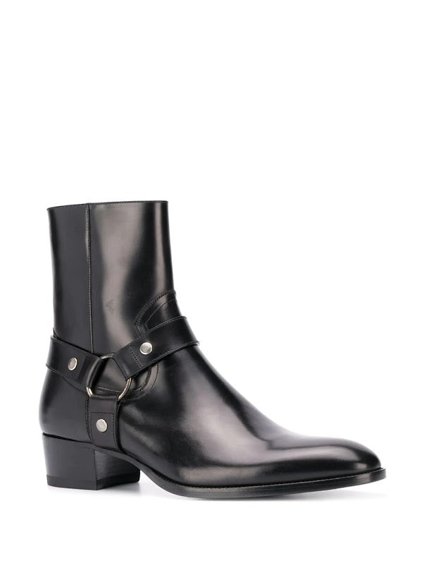 SAINT LAURENT MEN WYATT 40 HARNESS BOOTS