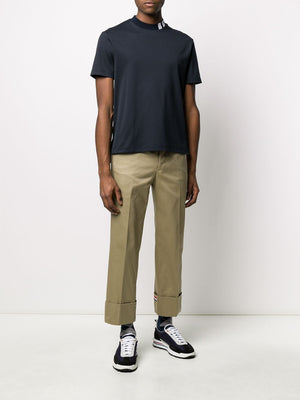 THOM BROWNE MEN MOCK NECK SHORT SLEEVE TEE IN COTTON INTERLOCK